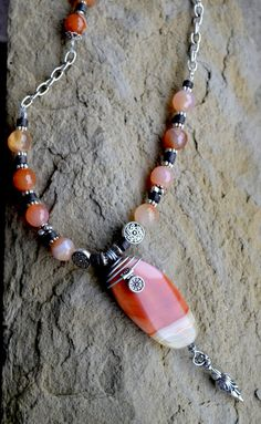 Agate Beaded Necklace, Gemstone, Silver Handmade, Natural Agate, Orange…