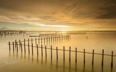 """Golden Sunset - Feel free to visit my website and see more of my works.   <a href=""""http://www.sunrisedawn.photography"""">www.sunrisedawn.photography</a>  A long exposure seascape shot of lagoons in Cigu, Tainan City on a cloudy evening with golden clouds in the sky."""