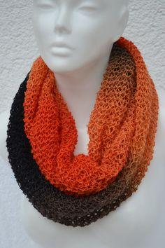 Loop+Schlauchschal+Schal+orange+grau+meliert++von+Masche+21+auf+DaWanda.com
