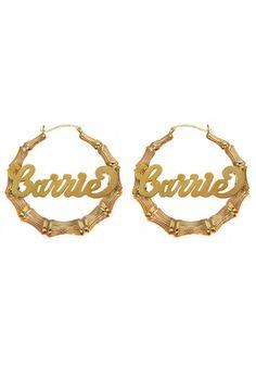 Custom 14K Nameplate Bamboo Hoop Earrings