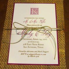 My engagement invitations. Burlap & jute :)