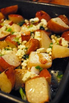 Blue Cheese Roasted Potatoes (Made this - Excellent) Can swap cheese for pancetta