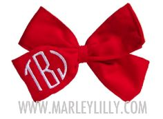 Monogrammed Red Hair Bow, barette clip, black thread, circle block font, SHN monogram