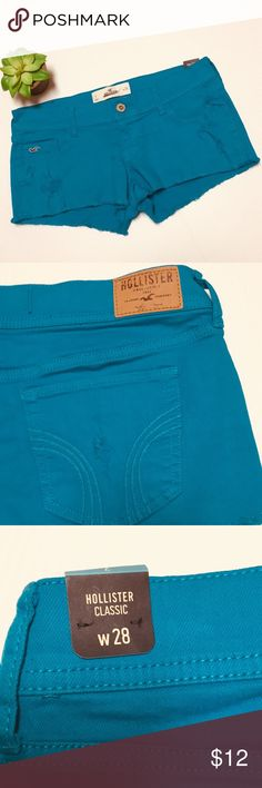 "Hollister distressed shorts Hollister classic factory frayed shorts, factory distressing as pictured, bnwt and never worn, the actual color is much more of a bright teal blue rather than the sky blue color in the photos, the photos do not do the actual color justice, it is gorgeous, but the camera would not pick it up correctly, 2"" inseam Hollister Shorts"