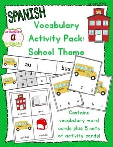 Spanish School Vocabulary Literacy Activity Pack: Contains one set of… Vocabulary Cards, Vocabulary Activities, Teaching Activities, Classroom Activities, Bilingual Classroom, Bilingual Education, Spanish Classroom, Reading Skills, Guided Reading