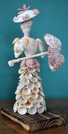 Vintage Seashell Doll, Victorian Lady with parasol.