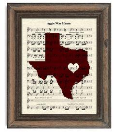 Texas Aggie's War Hymn Sheet Music Art Print, by TexasGirlDesigns on Etsy