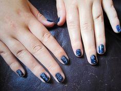 Navy Blue + White Nail Art