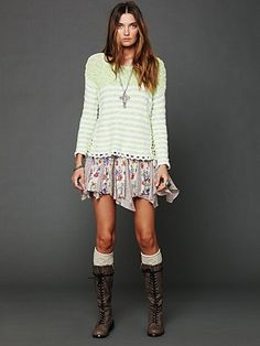 So much fun going on in this outfit. Striped In Crochet Pullover. http://www.freepeople.com/whats-new/striped-in-crochet-pullover/_/productOptionIDS/B943893F-0B54-441E-B1C3-AF4AA76FC1D1