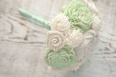 Small Hand Dyed Mint Green Sola Wood Wedding Bouquet - Mixed Ivory Wood Flowers, Handmade Fabric Rosettes, Burlap, Cream, Mint Green