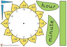 Teacher's Pet - Flower Time Telling (mini) - FREE Classroom Display Resource - EYFS, KS1, KS2, clock, time telling, analogue, digital, hour,...