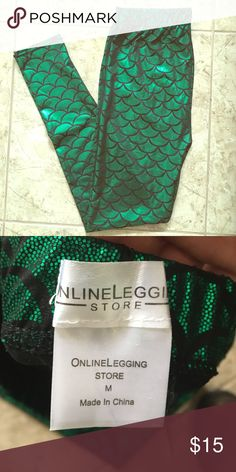 Green Mermaid Leggings Green Mermaid Leggings from the online legging store. Size Medium. NWOT, In perfect condition. I bought these for Halloween but ended up wearing something else. Online Legging Store Pants Leggings