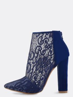 """Get them vintage vibes with the Pointy Toe Lace Ankle Booties! Features a pointed toe, back zipper and lace body. Finished with a faux suede, chunky 4.5"""" in. chunky heel. Pair with a bodycon midi skirt for a chic little number. #lace #classic #MakeMeChic #style #fashion #newarrivals #fall16"""
