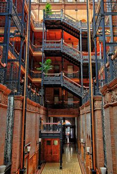 Historic Bradbury Building in Downtown Los Angeles. 1982 cult classic Blade Runner