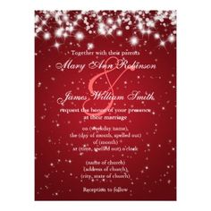 Elegant Wedding Save The Date Winter Sparkle Red Invite