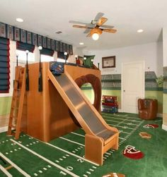 The ultimate sports pad  This room is great for any boy who is a fan of sports, with a mixture of both baseball and football throughout. The owner of this super cool bedroom even has fans cheering for him in the stands!