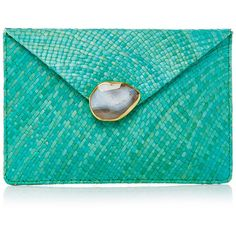 KAYU Capri clutch ($180) ❤ liked on Polyvore featuring bags, handbags, clutches, chain handle handbags, green purse, chain strap purse, green handbag and kayu