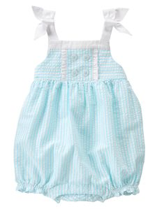 Newborn Light Seersucker Seersucker Bubble by Gymboree. cotton seersucker, Leg snaps for easy dressing, Button in back, Permanent bows with button accents, Machine wash; Imported and Collection Name: Little Splash Toddler Girl Romper, Baby Girl Pajamas, Baby Girls, Simple Dresses, Summer Dresses, Baby Sun Hat, Girls Rompers, Cute Baby Clothes, Baby Girl Fashion