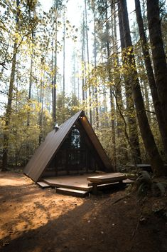 let's get lost in the forest - cabin life Build A Frame, A Frame Cabin, A Frame House, Forest Cabin, Forest House, Honeymoon Cottages, Casa Hotel, Cabin Kits, Cabin In The Woods