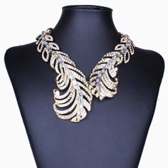 Statement Necklace 2017 Luxury Torques Big Vintage Necklace Women Feather Wing Crystal Necklace Nickel Free Jewelry