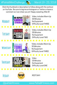 Ooooooh, Killer Bs, I've got something so awesome and fun cooking up for you! But first, let me tell you really quickly about this week's abbreviated Mini Challenge: there are just fo… 5 Day Workout Plan, Workout Plans, Fun Cooking, Cardio, Health Fitness, Told You So, March, Challenges, How To Plan