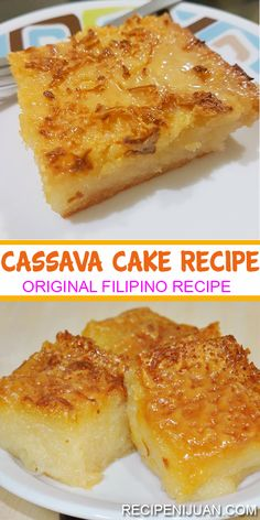 Cassava Cake - pia - Cassava Cake The Cassava Cake Recipe contains sugar, eggs, coconut milk and of course, grated cassava. After purchasing the best cassava in the market, you also have to check on the freshness of the coconut milk and the eggs. Asian Desserts, Hawaiian Desserts, Coconut Desserts, Filipino Dishes, Filipino Desserts, Easy Filipino Recipes, Cuban Recipes, Gourmet Recipes, Puddings