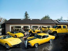 Guy Fieri's Car Collection.  Not sure if I should pin this in my food board or my car board!  LOL!