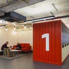 London office foregoes giant slides and game rooms for a new working philosophy that involves flexible co-working spaces and intimate meeting nodes. Google Office, Container Office, Container Design, Container Houses, Startup Office, Desk Layout, Interior Architecture, Interior Design, Urban Furniture