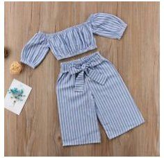 Baby Kids Girls Off-shoulder Tops T-shirt Casual Stripe Bowknot Pants Outfits #cute #t-shirt #for #kids #girls #cutet-shirtforkidsgirls Dresses Kids Girl, Little Girl Outfits, Little Girl Fashion, Baby Outfits, Toddler Outfits, Kids Outfits, Kids Fashion, Trendy Fashion, Fashion 2016