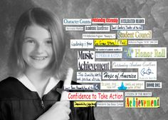 My daughter graduated from 6th grade. So I scanned in every award she ever won and made it into a thank you card.  Can also be made into wall art without the picture. Read my blog for my inspiration.
