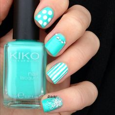 Summer 2014 Turquoise and White Dots and Stripes with crystal and glitter accent nails nail art...x