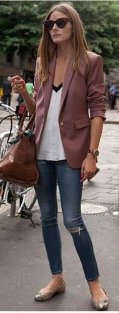 Olivia Palermo: Jacket – Reiss  Shirt – Tibi  Jeans – AG Adriano Goldschmied  Shoes – Pretty Ballerinas