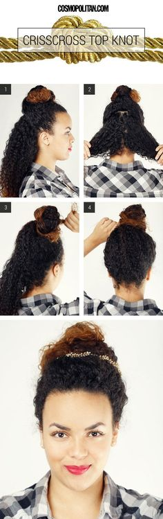Keep things simple with a crisscross top knot. | 17 Incredibly Pretty Styles For Naturally Curly Hair