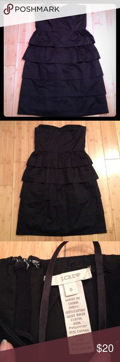 J. Crew Black Strapless Dress. Black Strapless j. Crew Dress with ruffles. About 27 inches long and 14 inches across the bust. Machine wash and line dry. J. Crew Dresses Strapless