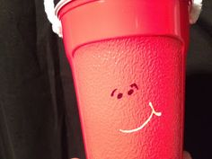 Candy Pretzel Parties: Blue's Clues Budget Birthday Party. Red Solo Cup decorated as Pail.