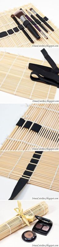 Great way to use a dollar store bamboo mat to store make up or paint brushes