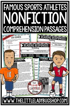 Grow your students knowledge of Athletes and Sports Figures with these Nonfiction Reading Comprehension Passages Set #2. These reading passages are wonderful for your students to study these famous athletes including Serena Williams, Peyton Manning, Lou Gehrig, Lindsey Vonn, and more! #readingcomprehension #readingpassages #nonfictionreading