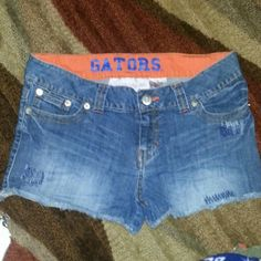 Florida Gators Jean shorts Size 11 lightly worn distressed look great game day wear College classics   Shorts Jean Shorts