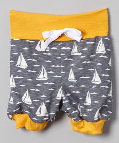 This Yellow & Gray Sailboat Bubble Shorts - Infant, Toddler & Boys by LittleVMen is perfect! #zulilyfinds