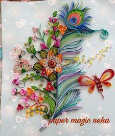 Flower arrangement, butterfly and bird pen - Best Paper Quilling Designs Arte Quilling, Quilling Letters, Paper Quilling Flowers, Paper Quilling Tutorial, Paper Quilling Cards, Paper Quilling Patterns, Quilled Paper Art, Quilling Paper Craft, Paper Crafts