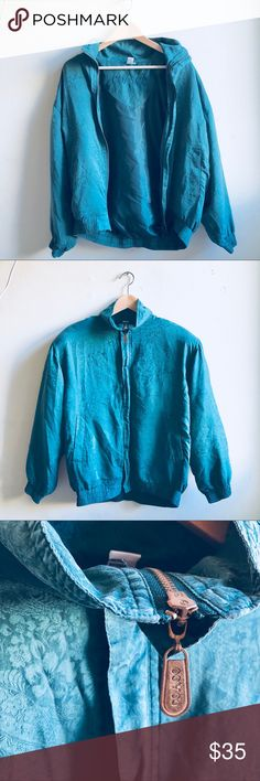 Vintage forest green silk bomber Vintage forest green cardigan zipper jacket bomber!! ❤️❤️❤️ oversized fit. Two pockets. Super good condition!!    Tag: cheongsam oriental print floral label vintage 80s elegant silk satin dragon unif clothing oaf omighty valfre tommy unif Hilfiger Klein Jackets & Coats
