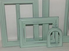 On yellow and white accent wall - Mint Green Picture Frames Set of 6/Shabby by SouthernXpressions