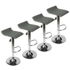 Set of 4 Bar Stools PU Leather Adjustable Swivel Pub Chair Kitchen Dining Gray #Elecwish #Modern