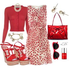 """Love this!! Minus the bag. """"Red Patent Leather, Polka Dots, & Pearls"""" by lisa-sanner on Polyvore"""