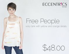 """Kasie is wearing our Free People tank. This ivory tank has abstract orange and yellow details. It is lightweight and perfect for a day at the lake. #eccentricsboutique #freepeople #summertank #abstract #ivory #summertime   """"Like"""" Eccentrics on Facebook: https://www.facebook.com/EccentricsByLauren"""