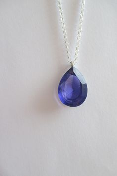 Faceted Blue gemstone and silver chain from Crimeajewel £15