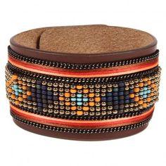 Bracelet en cuir marron Apache avec ruban satin et perles Orange  Opale