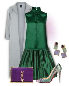"""""""Green, Grey, And Purple"""" by sjlew ❤ liked on Polyvore featuring New Look, Dsquared2, Yves Saint Laurent and Rebecca Minkoff"""