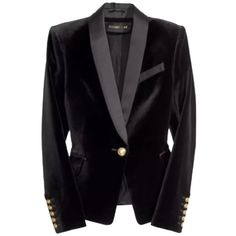 Pre-owned Balmain X H&m Blac Blazer (1.190 BRL) ❤ liked on Polyvore featuring outerwear, jackets, blazers, blac, fitted blazer, blazer jacket, black velvet blazer, tuxedo jacket and black blazer jacket