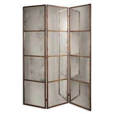 Antique Mirror Floor Screen